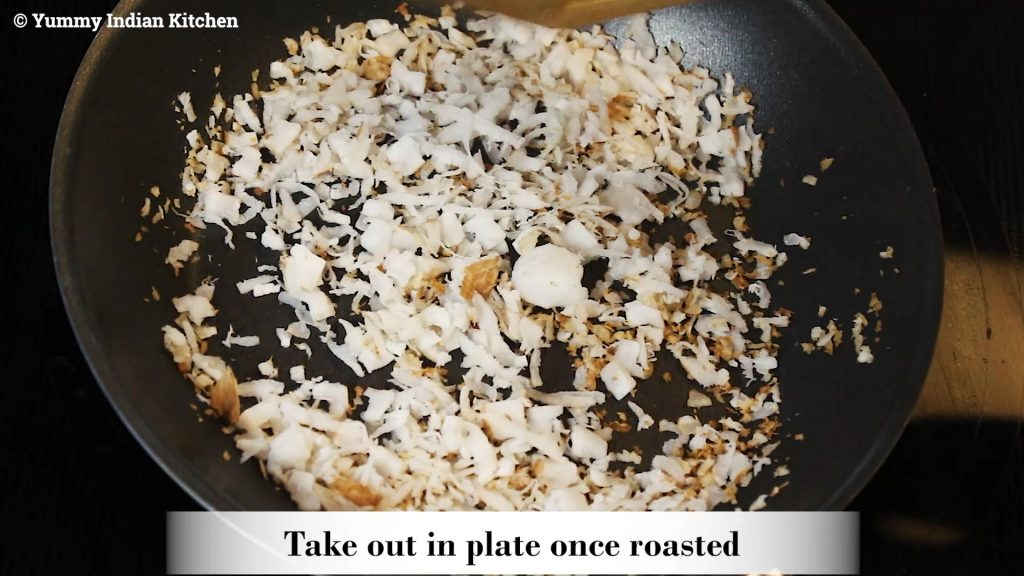 Adding freshly grated coconut and roasting