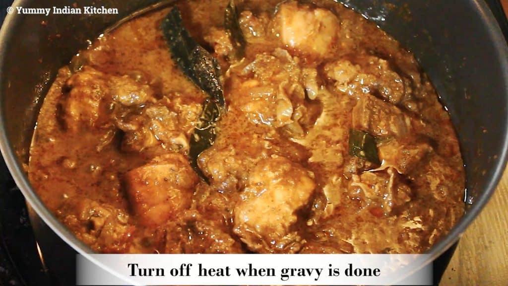 serving chicken chettinad