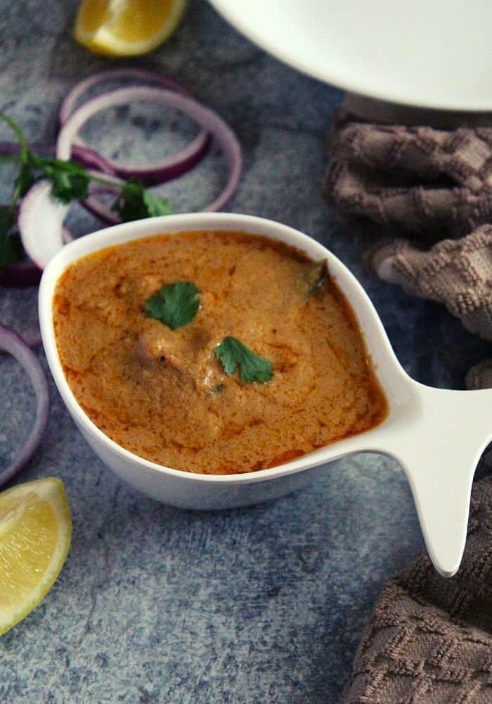 mirchi ka salan hyderabadi style in a bowl