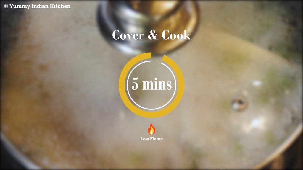 Covering and cooking on low heat until the rice is completely done