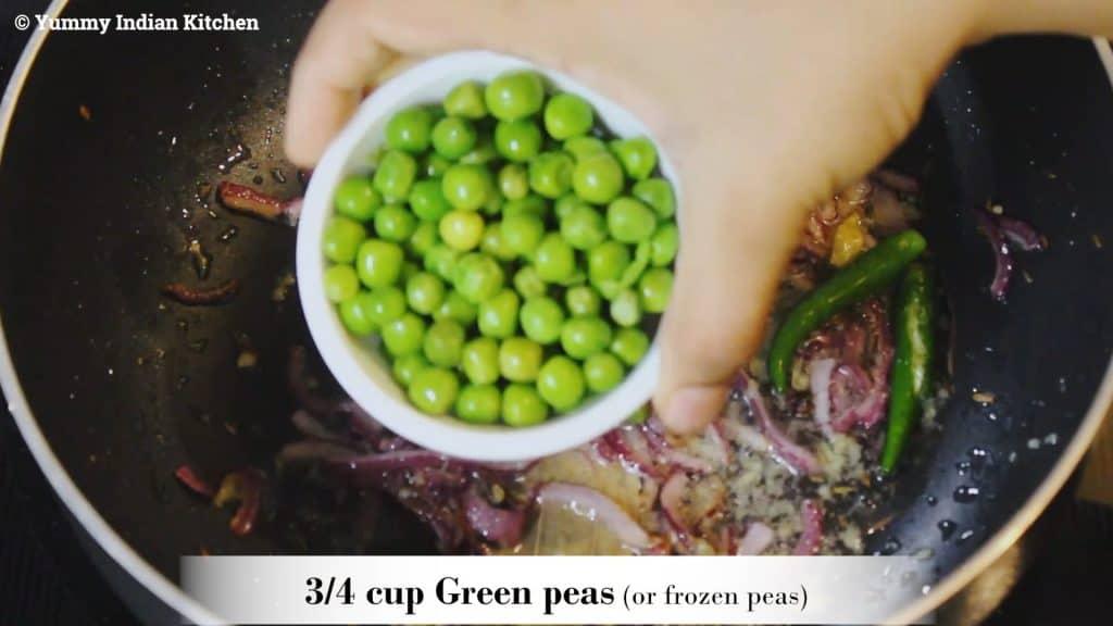 Adding frozen peas/matar