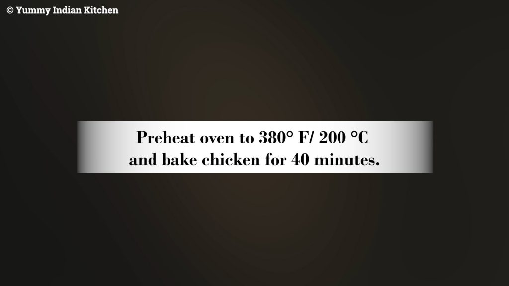 Pre heating the oven to 380° F/ 200 °C and baking