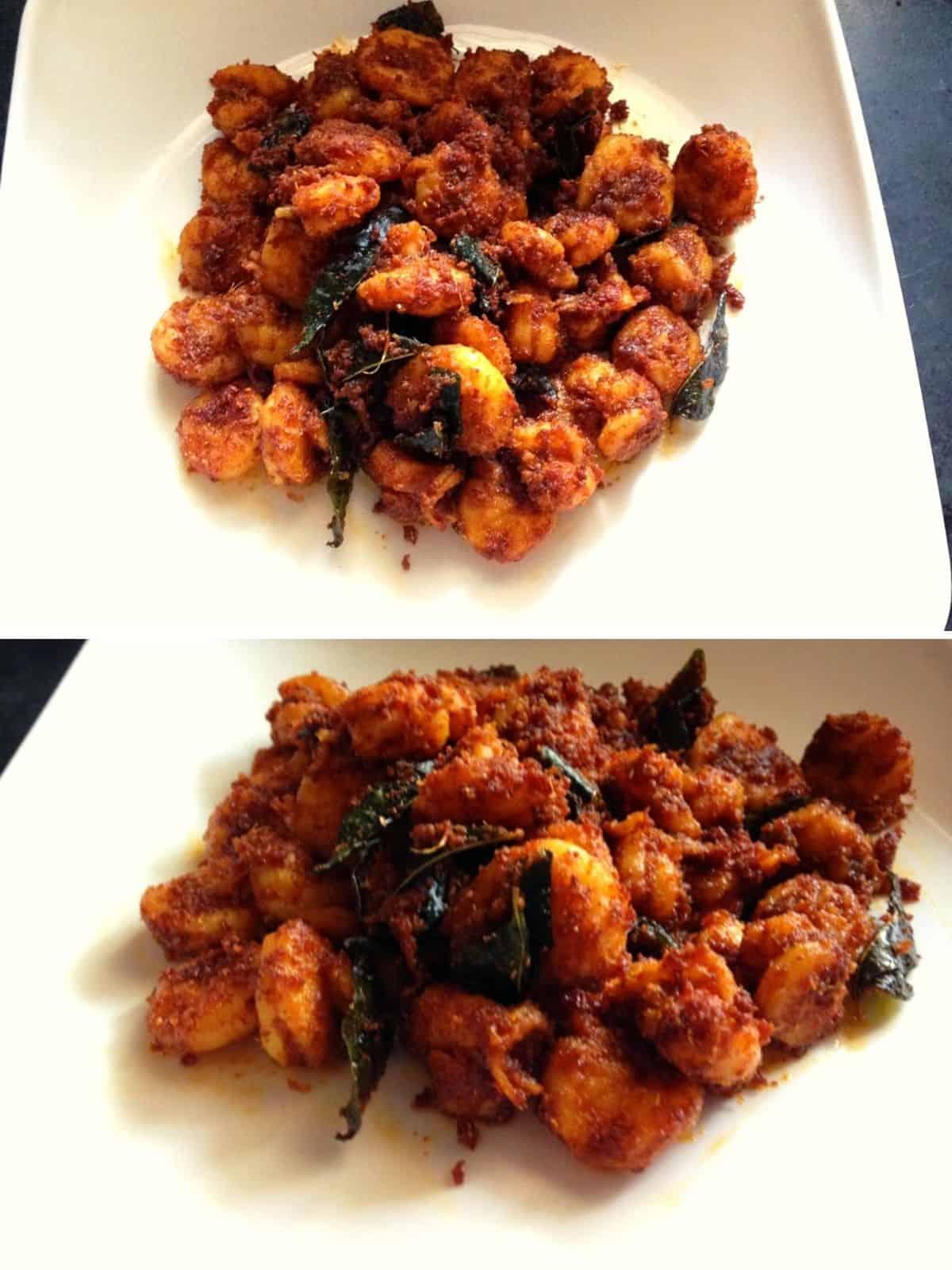 stir fried prawn on a plate
