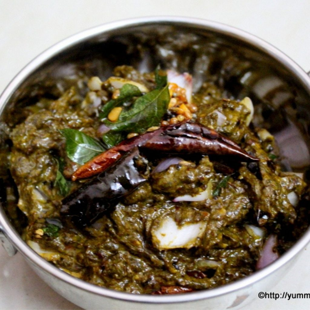 gongura pickle served in a small wok