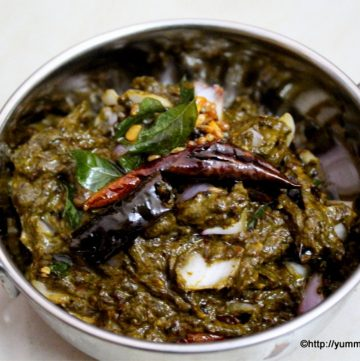 gongura pachadi with tempering on it is served in a bowl