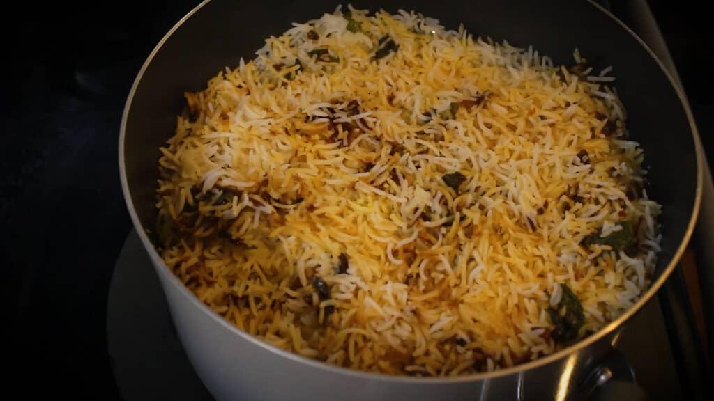 chicken dum biryani is ready to serve
