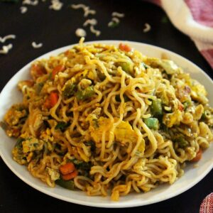 egg maggi masala with eggs served hot