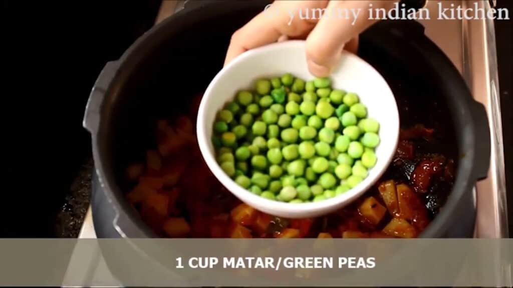 Adding matar/green peas
