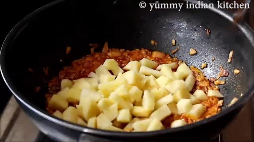 Added sliced potatoes
