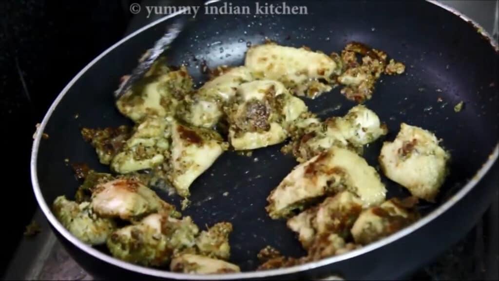 cooking both sides of chicken malai tikka