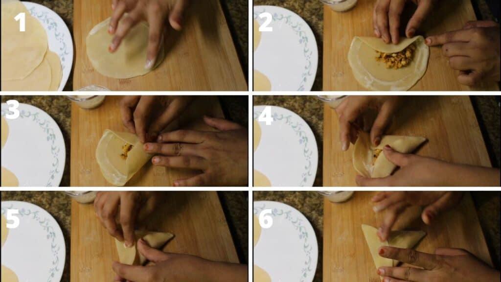 chicken samosa making and folding steps