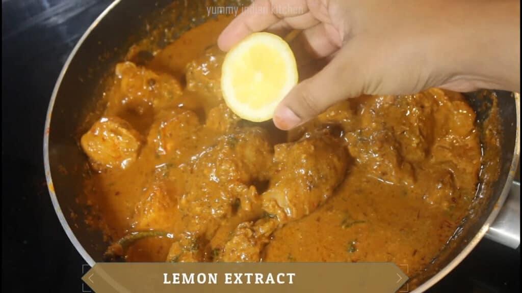 adding lemon extracted juice