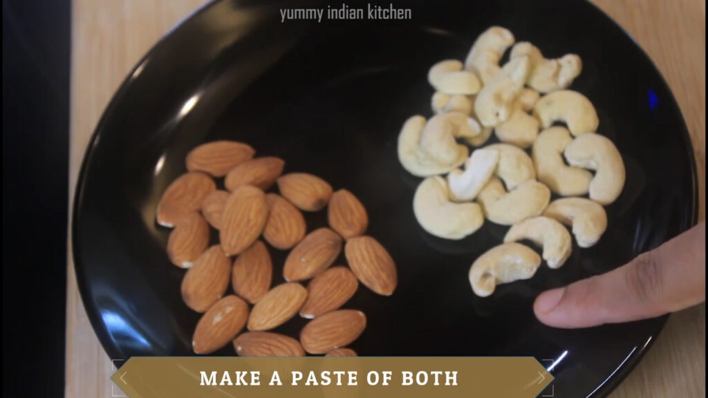 almonds and cashew nuts to a blending jar
