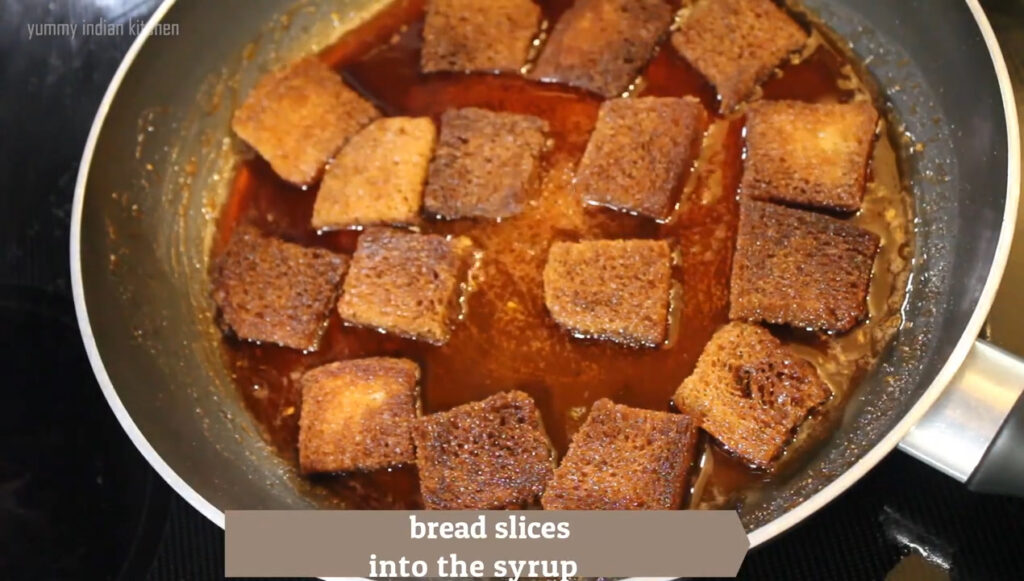 place the slices separately in the sugar syrup