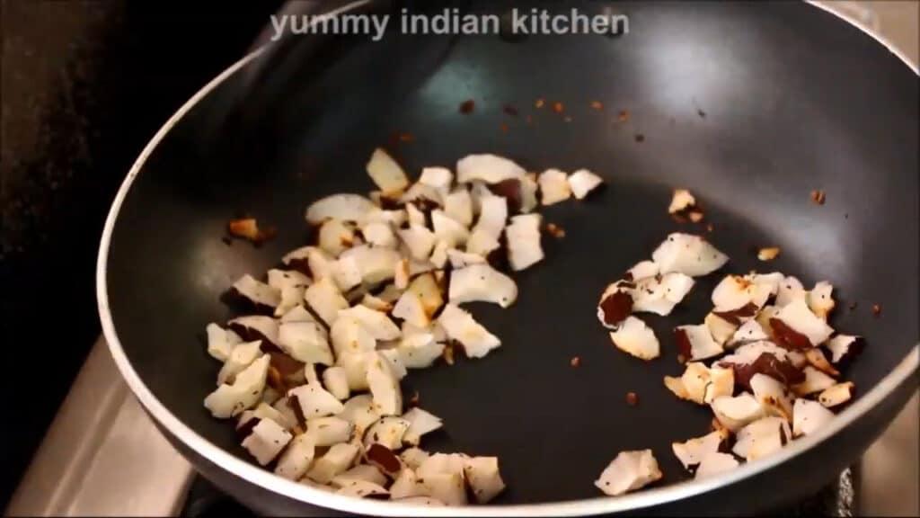 dry roasting coconut pieces