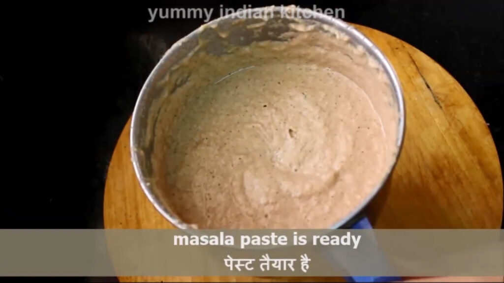making a paste for fish curry