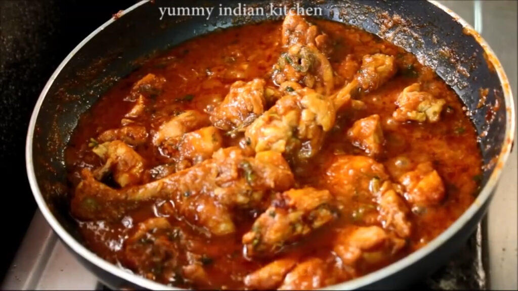 finished step of indian chicken curry