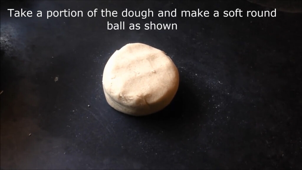 making a round ball of the dough