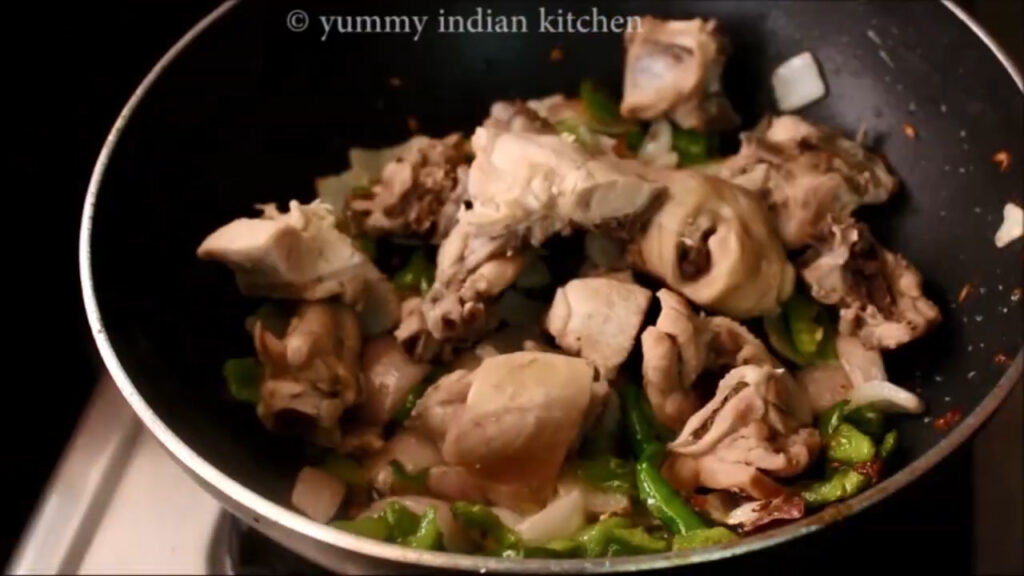 Adding the boiled chicken pieces