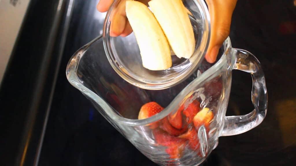 Adding in a peeled banana