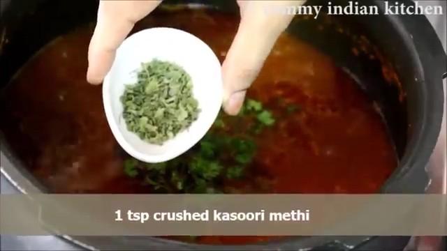 Adding chopped coriander leaves, crushed kasoori methi