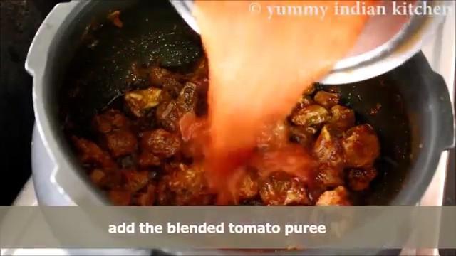 adding the tomato puree