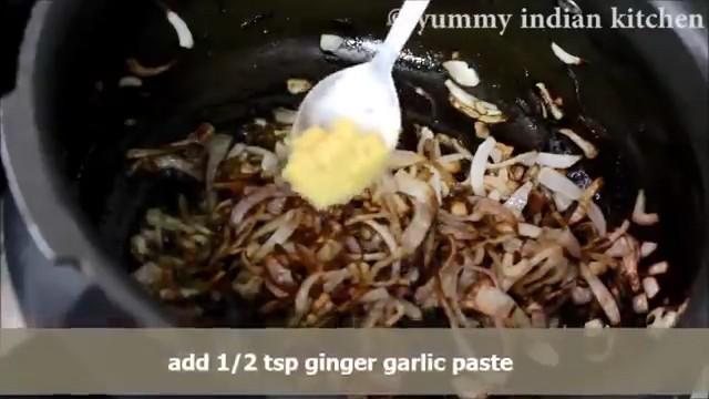 Adding ginger-garlic paste and sauteing few minutes