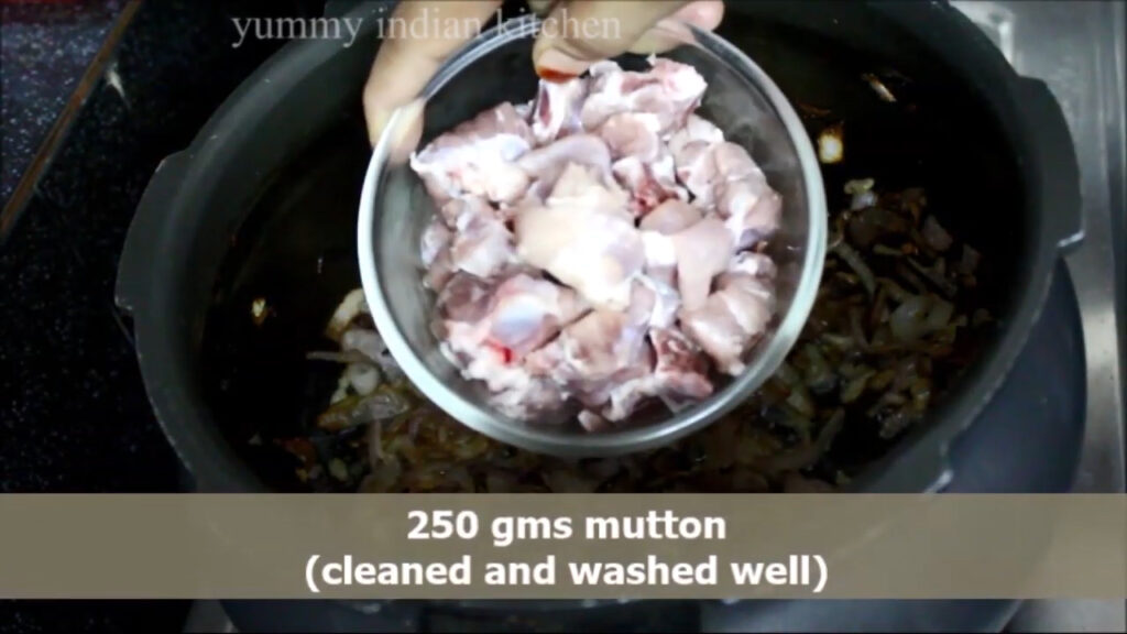 Adding the mutton pieces