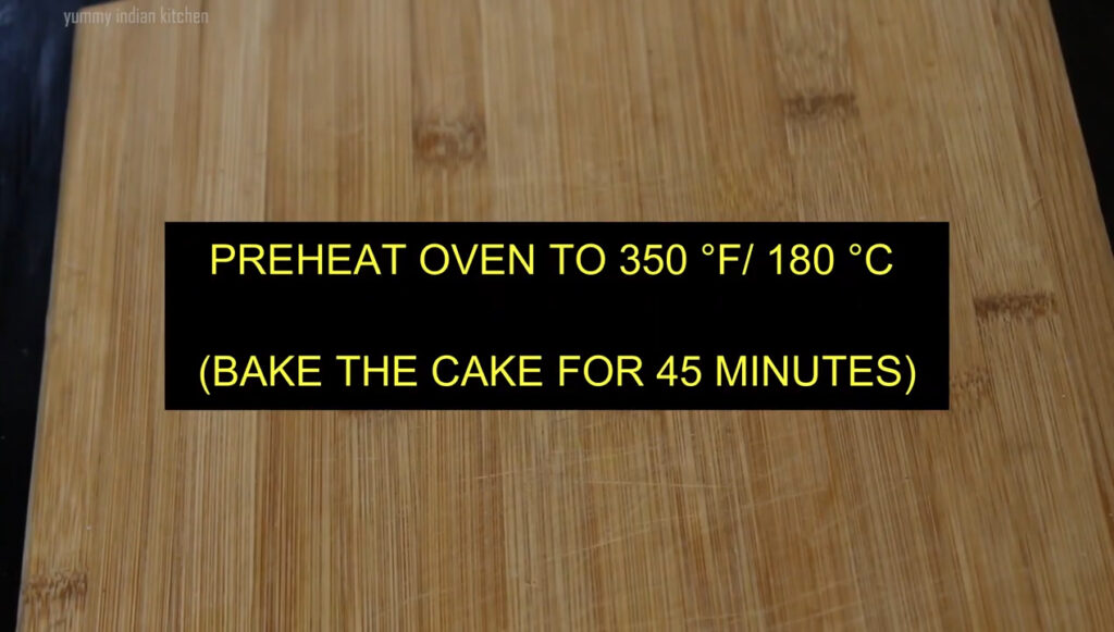 showing preheating and baking temperatures