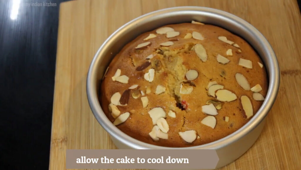 showing plum cake as done