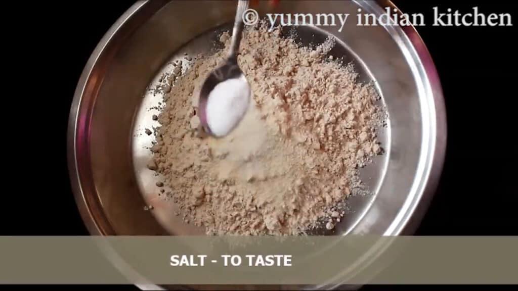 adding wheat flour, add sooji, add salt