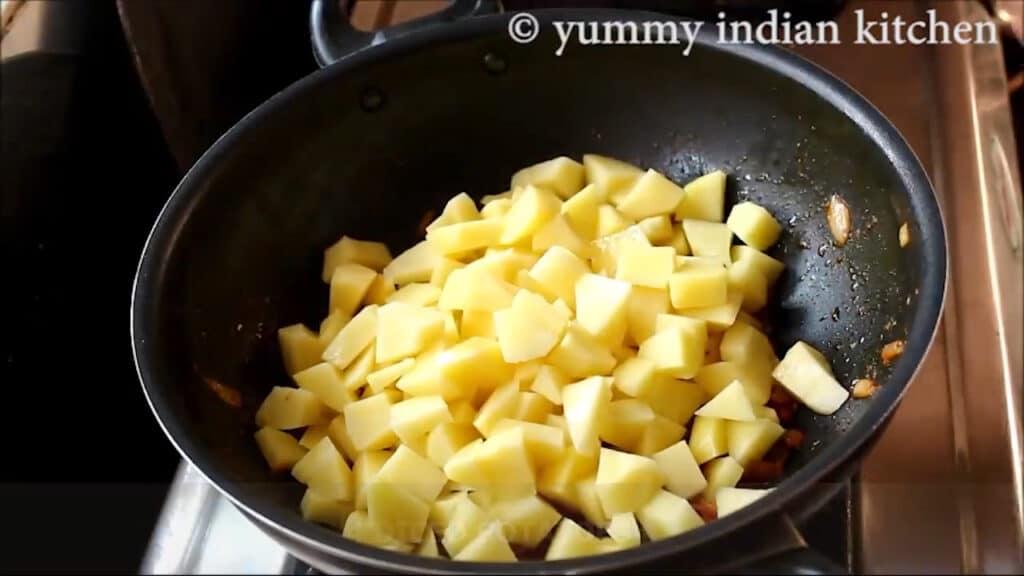 Add diced potatoes