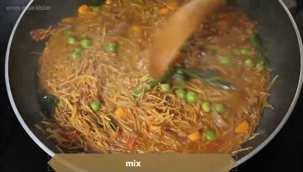 stirring the semiya upma well