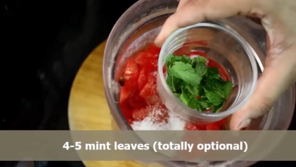 Adding mint leaves