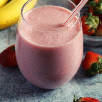Mcdonald's Strawberry Banana Smoothie served a glass