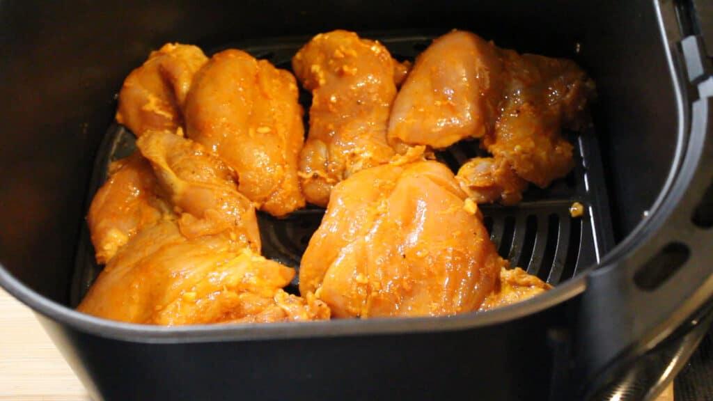 air frying the boneless chicken thighs