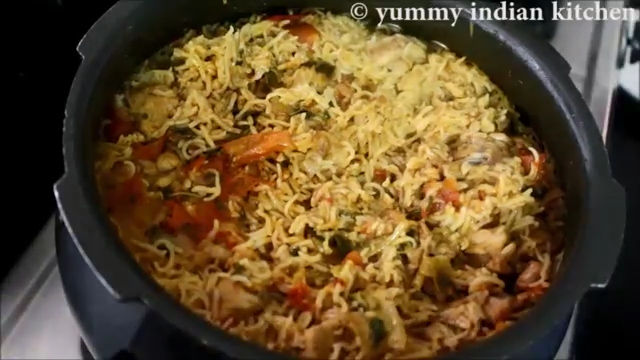 serving the cooker chicken biryani