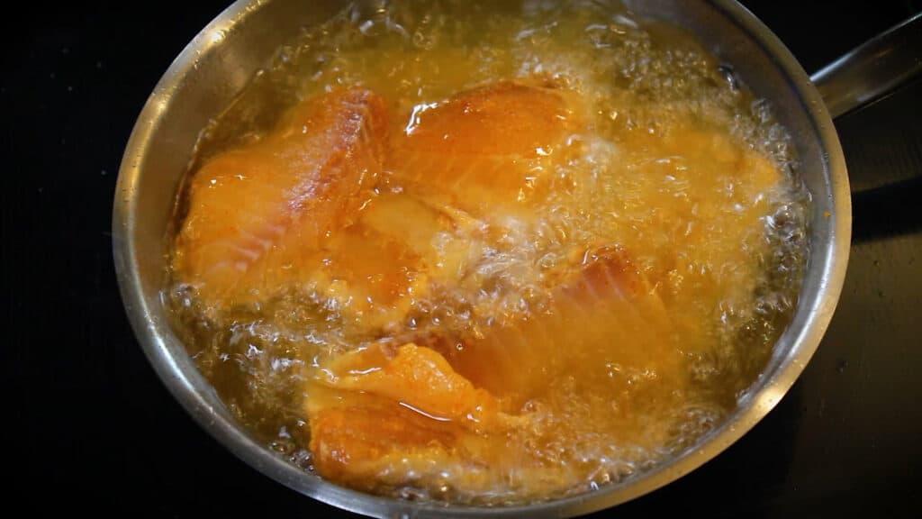 deep frying the fish