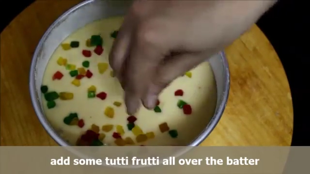 Pouring the cake batter from the centre