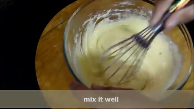 Mixing the batter well