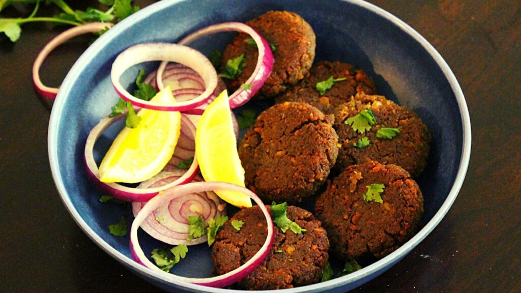 shami kabab served in a plate