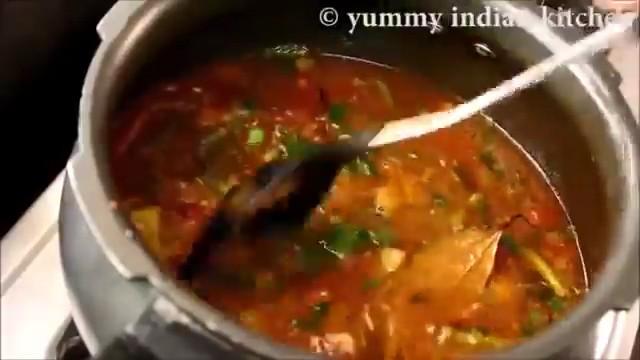 stirring the veg biryani in cooker well