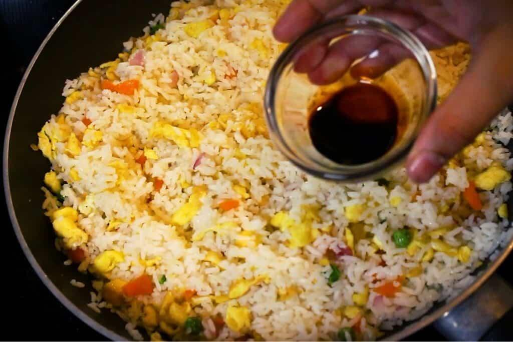 adding soy sauce
