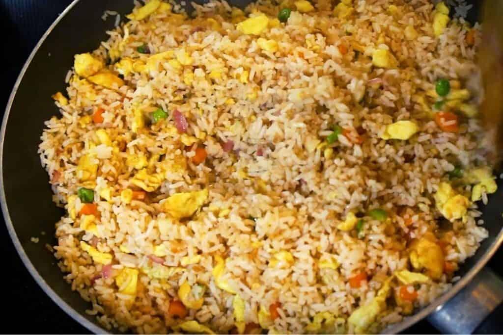 stir-frying the rice