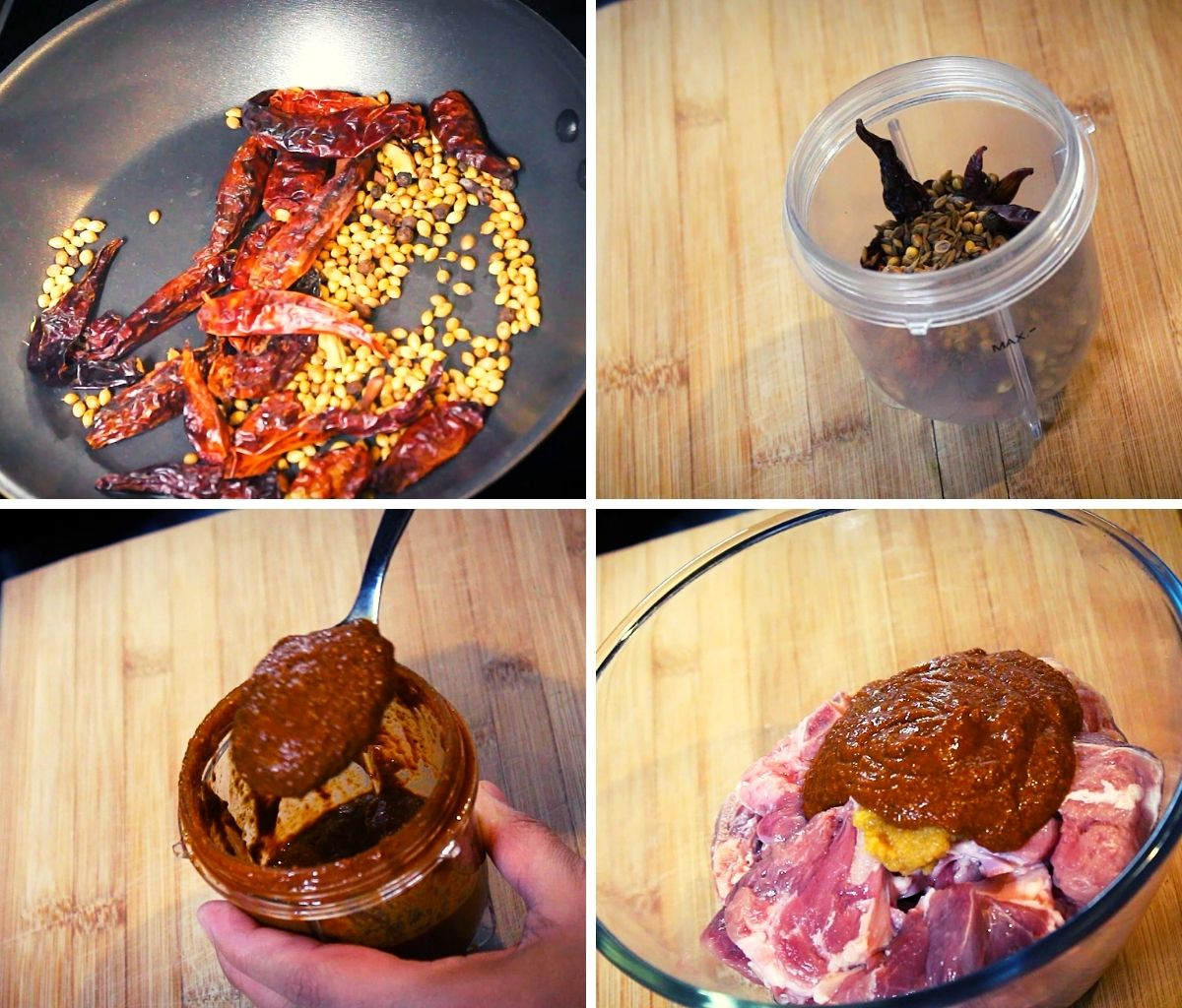 lamb vindaloo spices roasted and made to paste to add to the mutton
