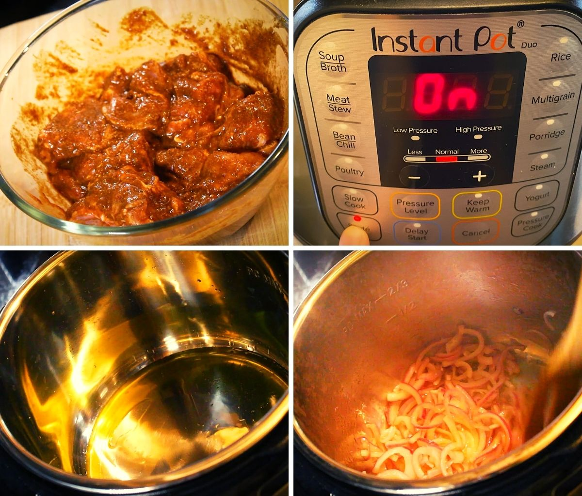 marinated mutton set to pressure cook in instant pot after sauteing onions